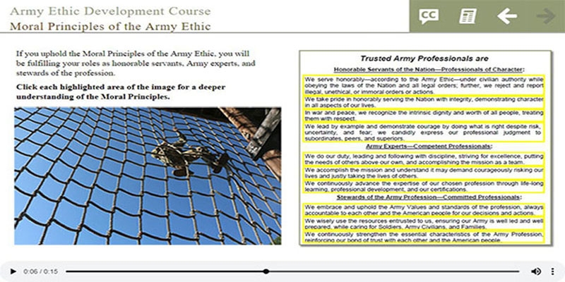 Army Ethic Development Course